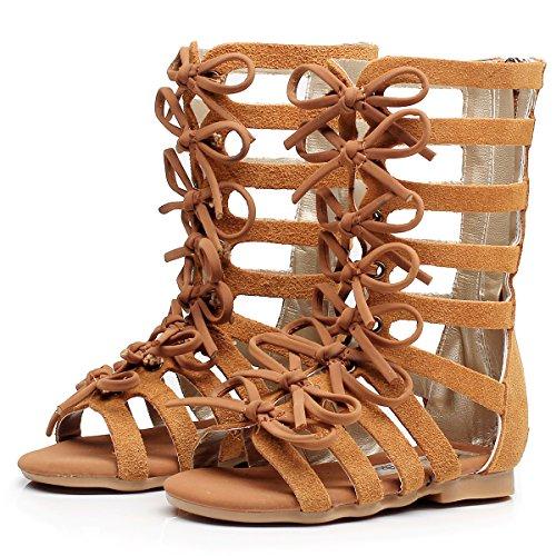 Children Girls Roman Zipper Bowknot Knee-High Gladiator Sandals Summer Boots (2M US Little Kid, CN33,Brown) -