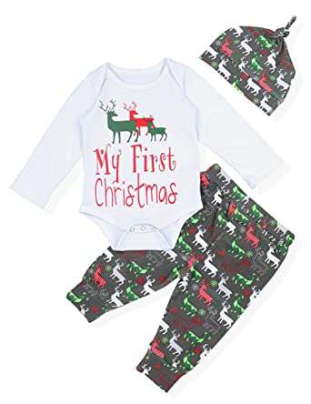 Amazon.com: Yiner My First Christmas Outfit Baby Boys Girls Cute ...