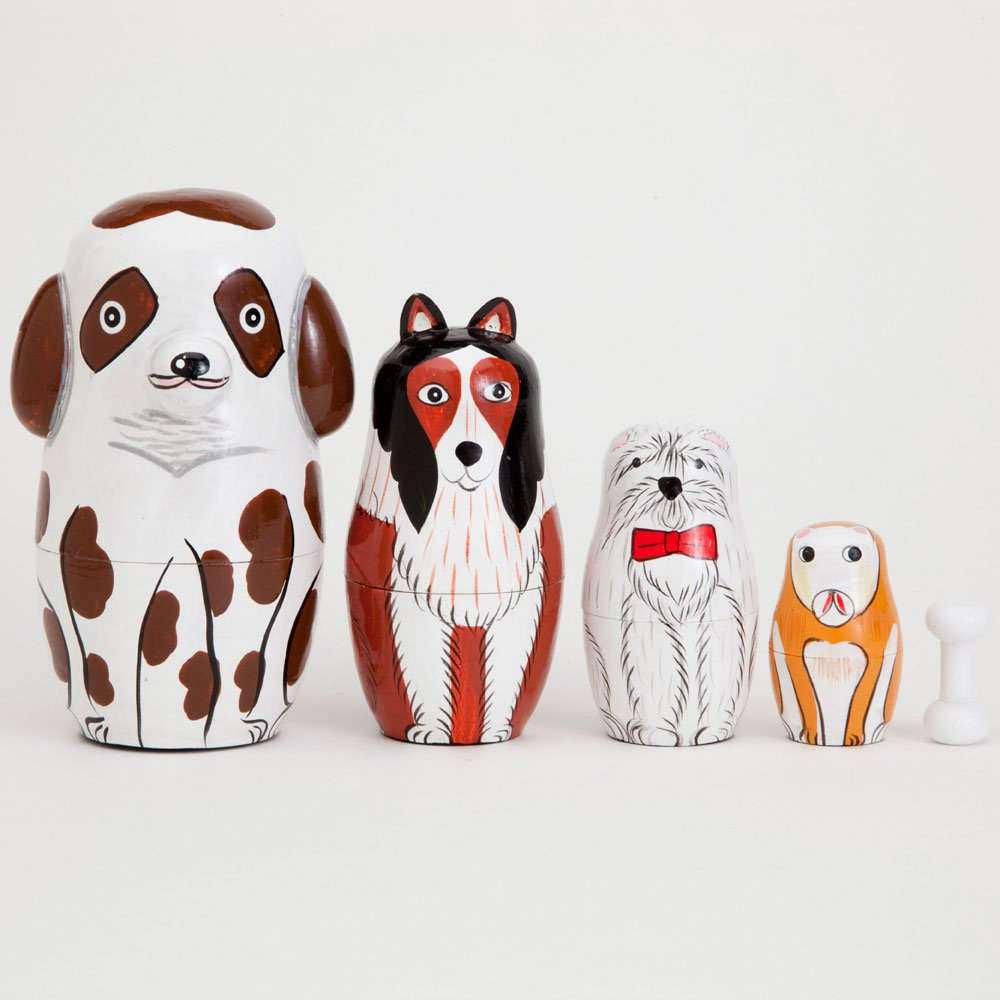 Bits and Pieces - ''Buddy And Friends Nesting Dogs - Hand Painted Wooden Nesting Dolls - Matryoshka - Set of 5 Dolls From 5'' Tall
