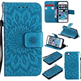 iPhone SE Case,iPhone 5S Case,Pu Leather Embossed Wallet Cover Flip Kickstand Carrying Case with Wrist Strap Full Protective Case Xmas Birthday Gift for Apple iPhone SE -Sunflower Blue