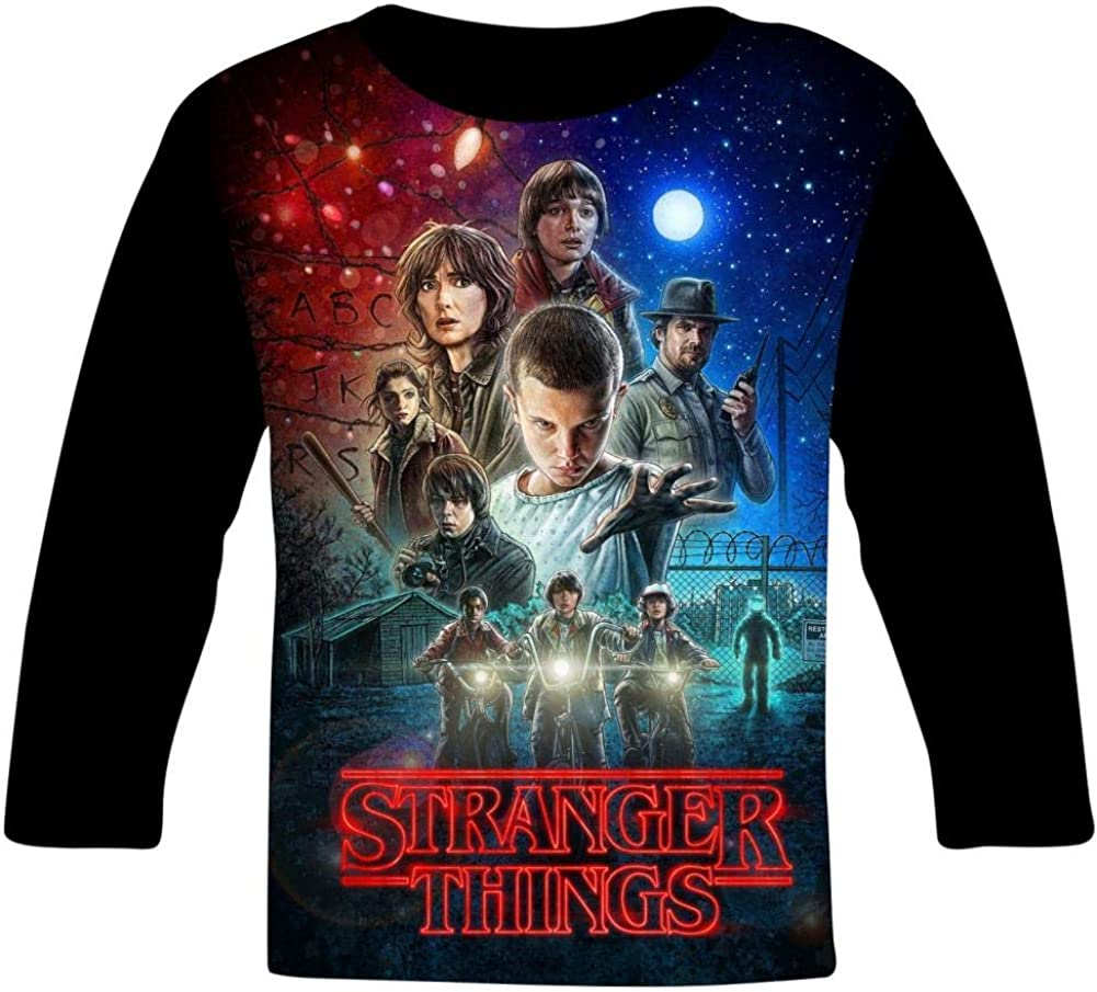 S-tranger-Thing-s 3 Poster Kids T-Shirts Long Sleeve Tees Fashion Tops for Boys//Girls