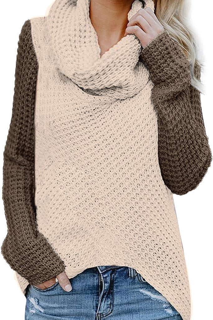 MOMOXI 2019 Jerséis de suéter con Botones para Mujer, Suéter sin Hombros para Mujer Patchwork Informal Manga Larga Tejido de Punto Sudadera Cuello Alto tamaño S-5XL