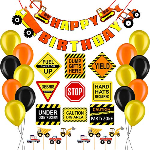 (64 Pieces Construction Birthday Party Supplies Dump Truck Party Decorations Kits Set for Kids Construction Themed Party Decorations)