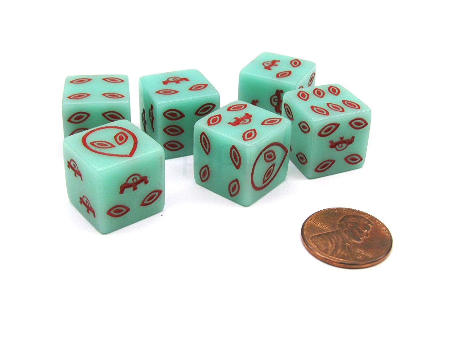 Green with Red Etches Pack of 6 Alien UFO 16mm D6 Glow in the Dark Dice