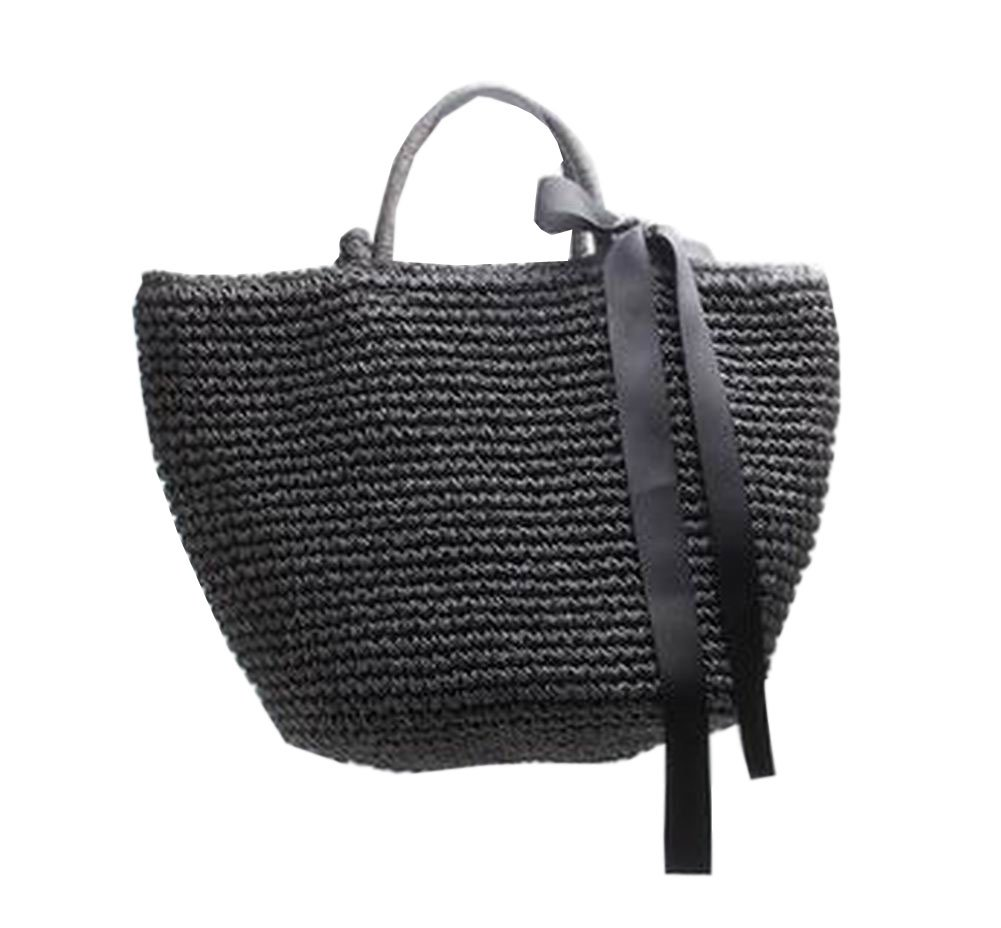 Straw Bag Beach Handbag Summer Bag Lightweight Holiday Style [Black]