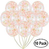 Amison globos de confeti de oro rosa, 10