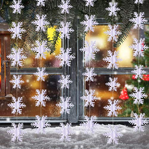 Gezhi Christmas Hanging Snowflake Decorations Winter Wonderland Party Paper Snowflakes Garland Decor Snow Small/Middle/Large White Indoor Tree/Ceiling/Window/Door Ornaments 6 Packs