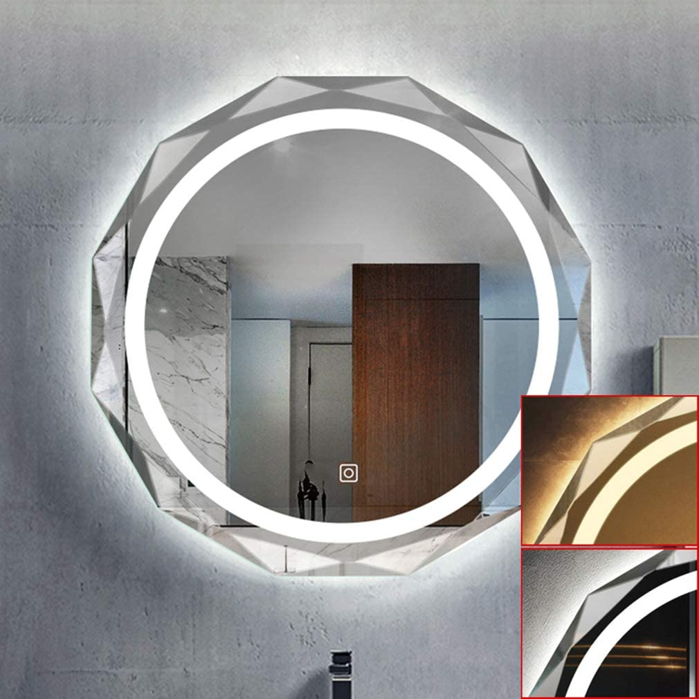 ADASP HORV Bathroom LED Backlit Mirror,Sink Wall Mounted Vanity Mirror with Light, Modern Circle Makeup Mirror with Smart Touch Control Dimmer, Perfect for Home Use or Hotel Supply