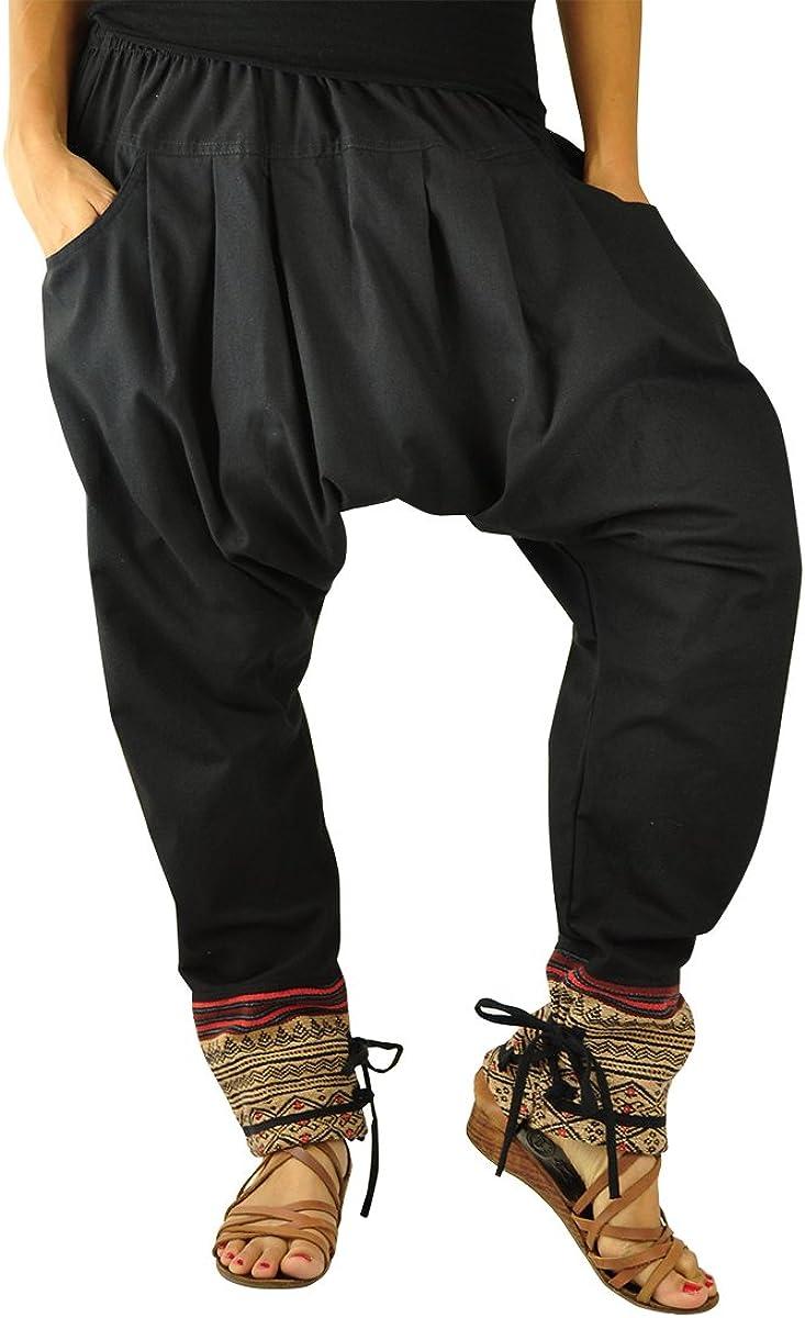 virblatt Pantalones cagados Mujer como Ropa etnica para una Moda Hippie en Talla única Pantalones Harem en algodón con Tejidos Tradicionales y cómoda Cintura elástica - Malie