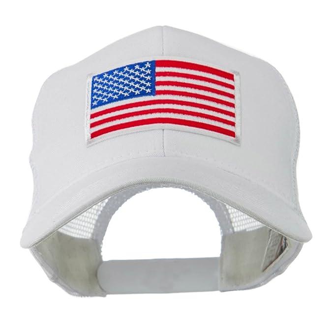 e7b9051900a95 6 Panel Mesh American Flag White Patch Cap - White OSFM at Amazon ...
