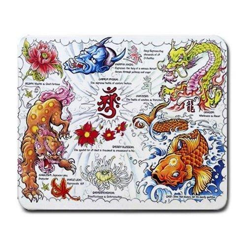 Tattoo Chinese Art Dragon Lotus Koi MIx Mouse Pad MP792 ()