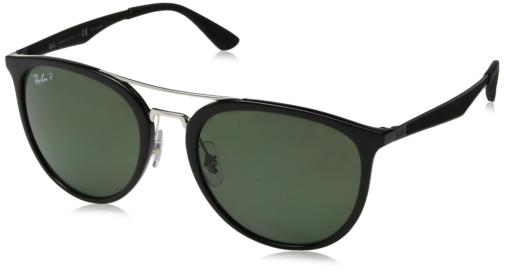 Ray-Ban Men's Plastic Man Square Sunglasses, Translucent Blue, 55 mm