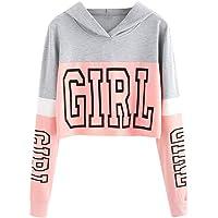 BaojunHT Women Printing Sweatshirt Crop Tops Pullover Patchwork Blouse Girl Letter Jumper