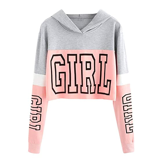 Amazon.com: Women Hooded Crop Tops Cute Letter Color Block Long Sleeve Teen Girl Hoodie Sweatshirt Blouse Gray: Clothing