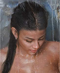 mocarrie Art Prints Nude Girl Canvas Transfer From Oil Painting With Handpainted Detail Charming Bathing Nude Girl Realism Beauty Lady Female Nude For Home Wall Art Decor. 30x45cm NoFramed