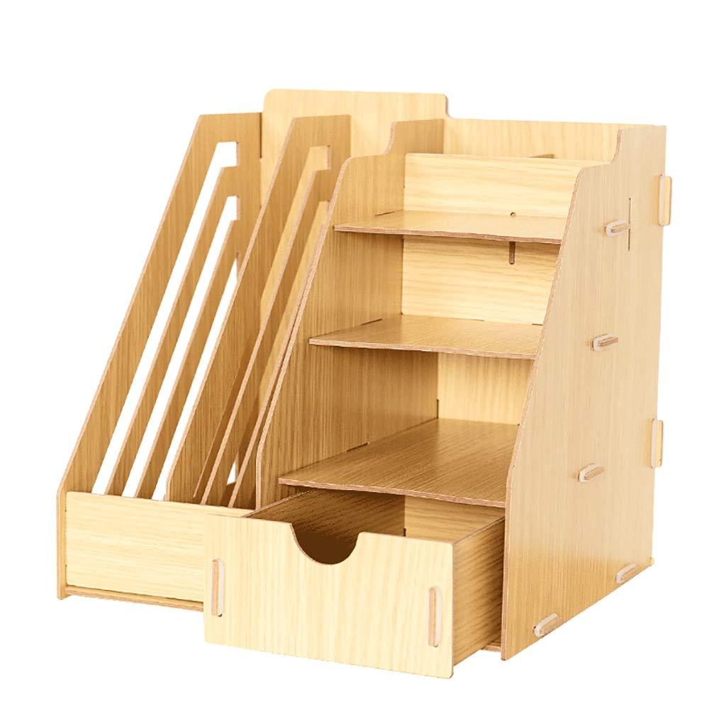 LXYWJJ Ordnungsmappen Desktop-Dateihalter aus Holz Datei Aufbewahrungsbox Schublade Sortierung Box Aufbewahrungsbox Schreibtisch Lagerregal (28,5 cm  26 cm  28,5 cm Dateikasten (Farbe   C)