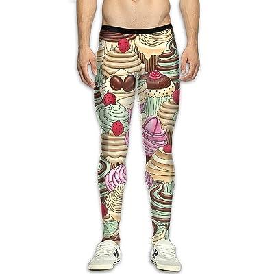 GFGRFDD Compression Pants, Men Running Movement Gym Yoga Bodybuilding Ice Cream Pattern 3D Printing Leggings