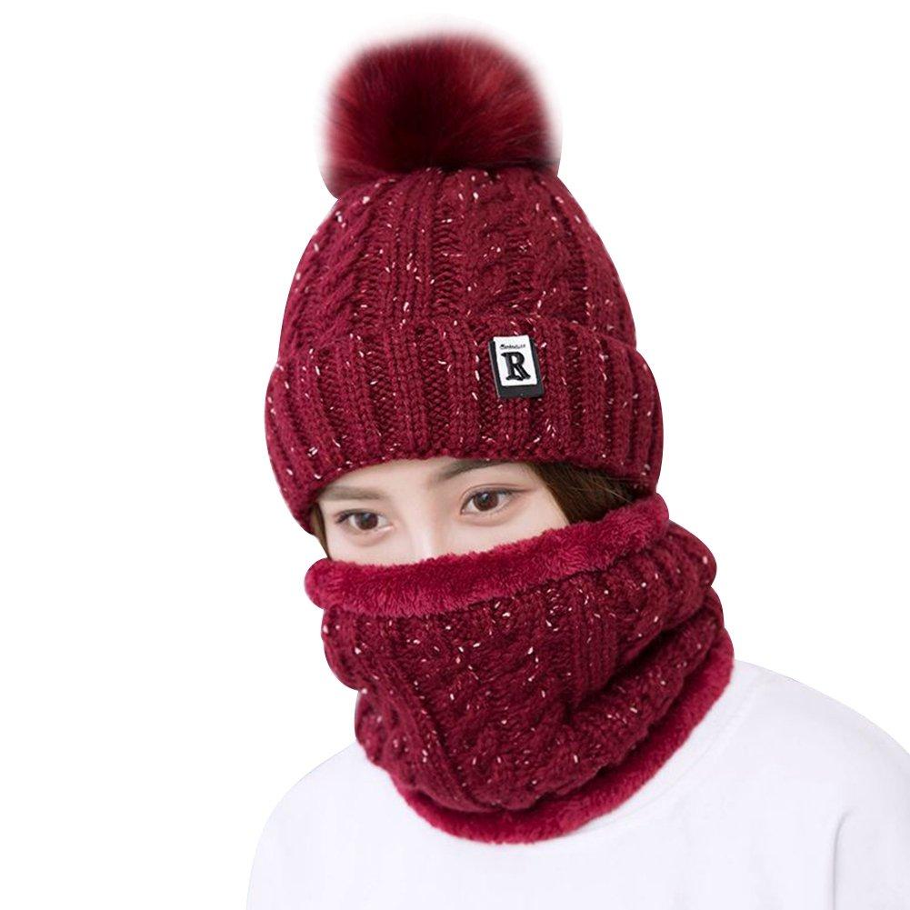 Fletion Women Girls Warm Knitted Beanie Hat Scarf Set Ladies Winter Neck Warmer Scarves Knit Crochet Hat Headwear Ssowun SYY304MW