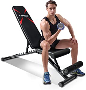 FirstE Adjustable Weight Bench, Portable Strength Training Bench, Flat Incline Decline Full Body Exercise Men/Women Fitness Bench, Foldable Workout Bench for Home Gym Indoor, 550lbs Capacity