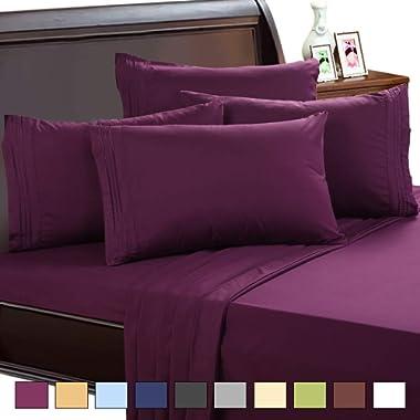 EASELAND 6-Pieces 1800 Thread Count Microfiber Bed Sheet Set-Wrinkle & Fade Resistant,Deep Pocket,Hypoallergenic Bedding Set,Queen,Purple