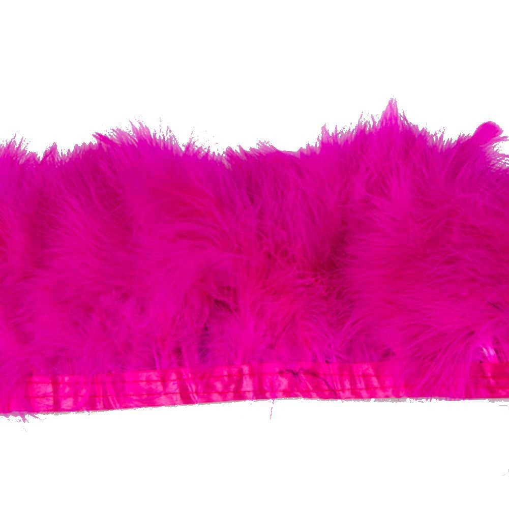 KOLIGHT Pack of 2 Yards Natural Turkey Marabou Feather Trim Fringe 6-8 Inch in Width DIY Decoration Pink