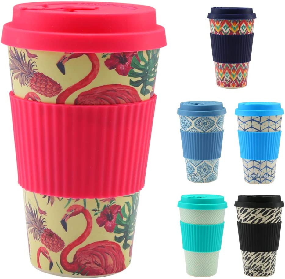 CasaBasics Taza de Café para Llevar en Bambú | Reutilizable, Biodegradable, Reciclable, Ecológica, Vegana | 450 ml / 15 oz | Adecuada para lavavajillas - Color: Flamingo: Amazon.es: Hogar