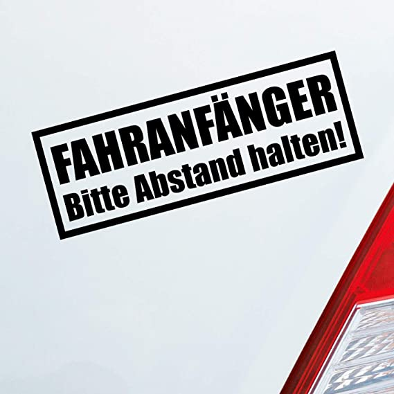 Auto Aufkleber In Deiner Wunschfarbe Achtung Fahranfänger Spruch Fahrschule 20x7 Cm Autoaufkleber Sticker Folie Auto
