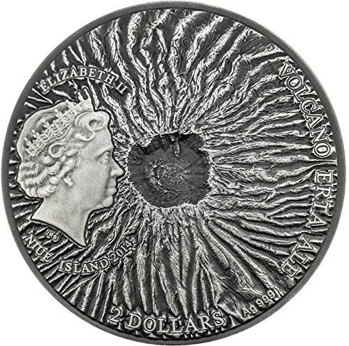 Review 2014 NU Volcano Niue ERTA ALE Volcano Crater Ethiopia Lava 2 Oz Silver Coin 2$ Niue 2014 Antique Finish