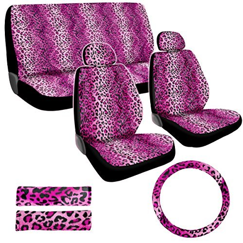 Premium New Style Pink Leopard 11pc Low Back Front Seat Covers, Bench Seat Cover with Head Rest, Steering Wheel Cover with Shoulder Pads