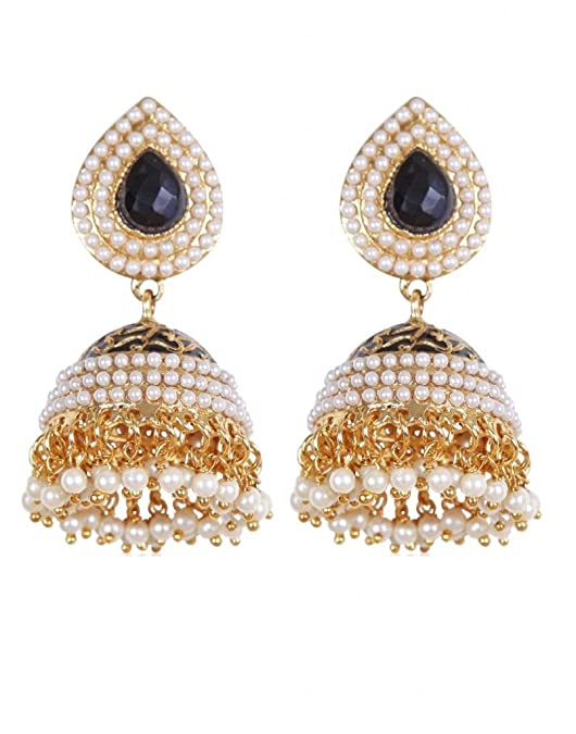 Rajwada Arts Traditional Black Color Studded Jhumki for Women Women's Earrings at amazon