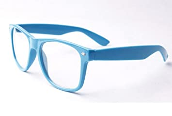 Blau Clear Lens Wayfarer-Style Nerd Geek Retro Hipster Brille Fancy Rave Party Kleid HDfEUwhauv