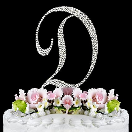 completely covered swarovski crystal silver wedding cake toppers large monogram letter d by raebella weddings