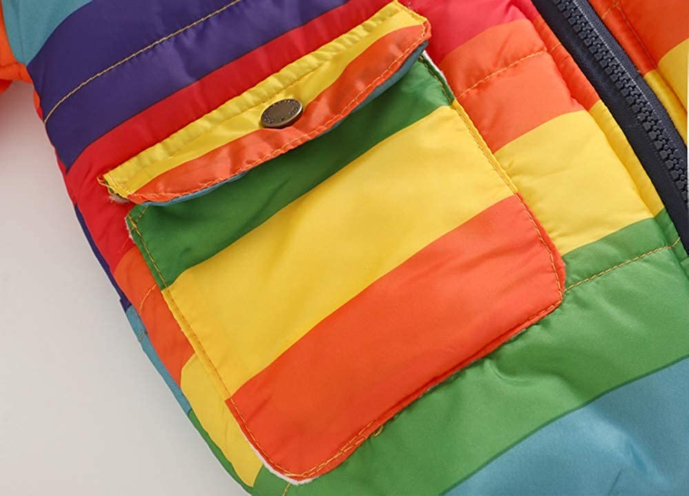 AMSKY❤ Funny Baby Outfits for Boys,Toddler Baby Girl Boy Stripe Rainbow Winter Warm Jacket Hooded Windproof Coat