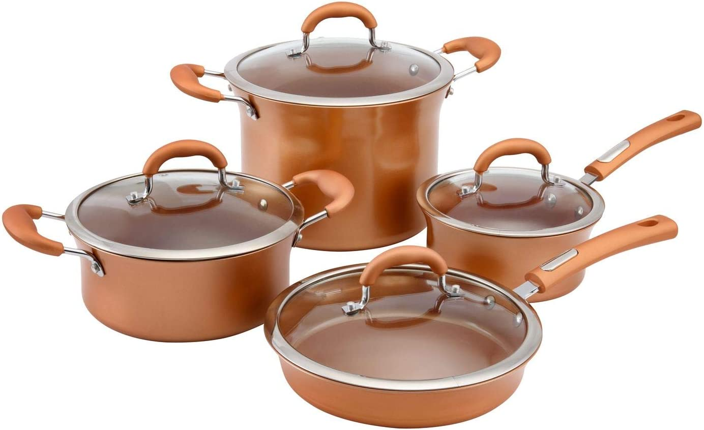 Aramco HBE601 Hamilton Beach Cookware Set, Aluminum, 8 PC, Copper