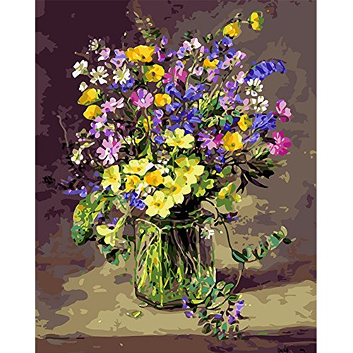 Paint by Number Kit for Adult 16 by 20-Inch Fresh Flowers by LICSE