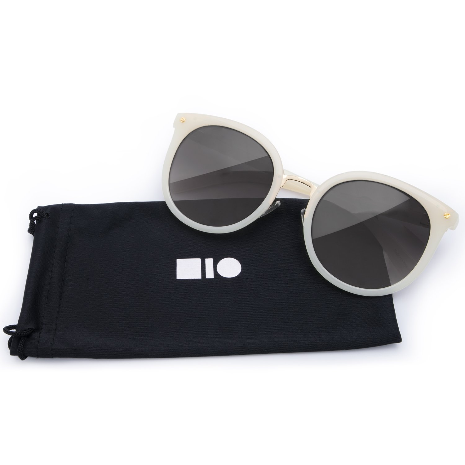 5e27b76d4d7f7 Amazon.com  Mio Eyewear  Cateye - Black  Fashion Sunglasses for Woman (100% UV  Protection) - White Gold  Clothing