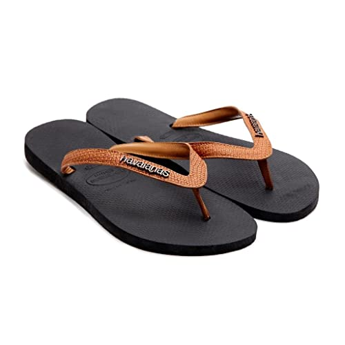 be4048ef1a31e4 Havaianas Women Slim Logo Elegance II Black Flip Flops Thongs Brown Leather  Strap  Amazon.co.uk  Shoes   Bags
