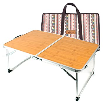 BYF Mini Table Pliante Camping Table en Bambou Bois de Bambou ...