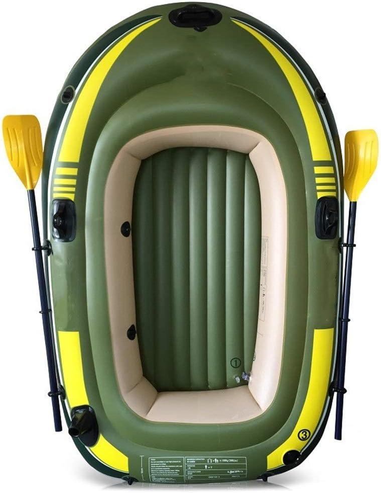 耐久性のカヤック パドルポンプが付いている耐久の環境に優しい厚い二重膨脹可能な漁船の屋外の膨脹可能な三人用のボート (色 : 緑, サイズ : 248x127CM) 緑 248x127CM