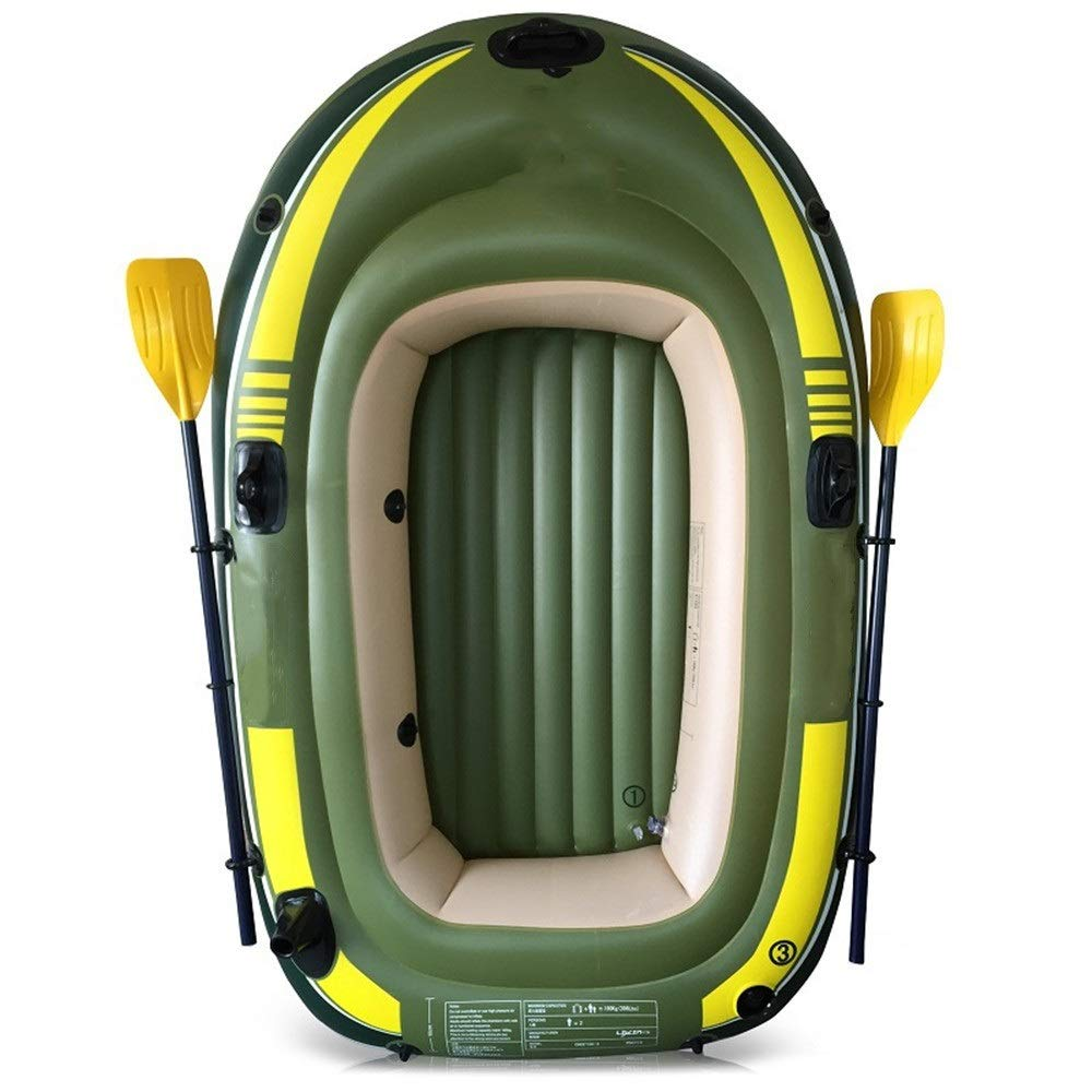 Durability Inflatable Kayaks Durable Environmentally Friendly Thick Double Inflatable Fishing Boat Outdoor Inflatable Three-Person Boat with Paddle Pump (Color : Green, Size : 198x122CM) by BoeWan