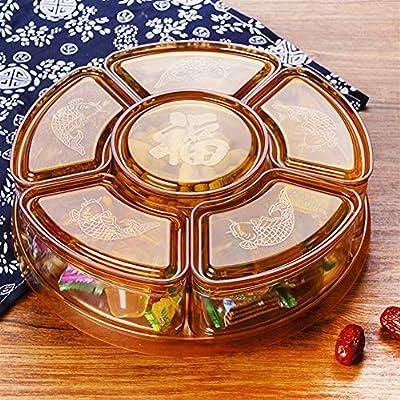 Multa Rotación de la caja del caramelo, Snack Box plato giratorio de Pétalo Dried Fruit Plate, fiesta de Navidad de la tuerca Tabla tazón de golosinas Snacks almacenamiento Bandeja Para Para sala