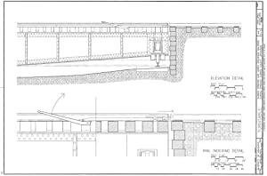 Historic Pictoric Blueprint Diagram Elevation Detail and Rail Indexing Detail - Turntable: Eureka Springs & North Arkansas Railroad, Highway 23, Eureka Springs, Carroll County, AR 12in x 08in