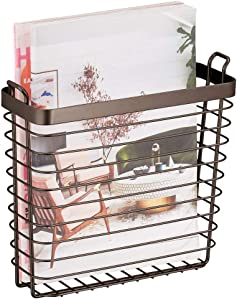 mDesign Metal Wire Farmhouse Wall Mount Magazine Holder, Home Storage Organizer - Space Saving Rack for Magazines, Books, Newspapers, Tablets in Mudroom, Bathroom Near Toilet, Office - Bronze