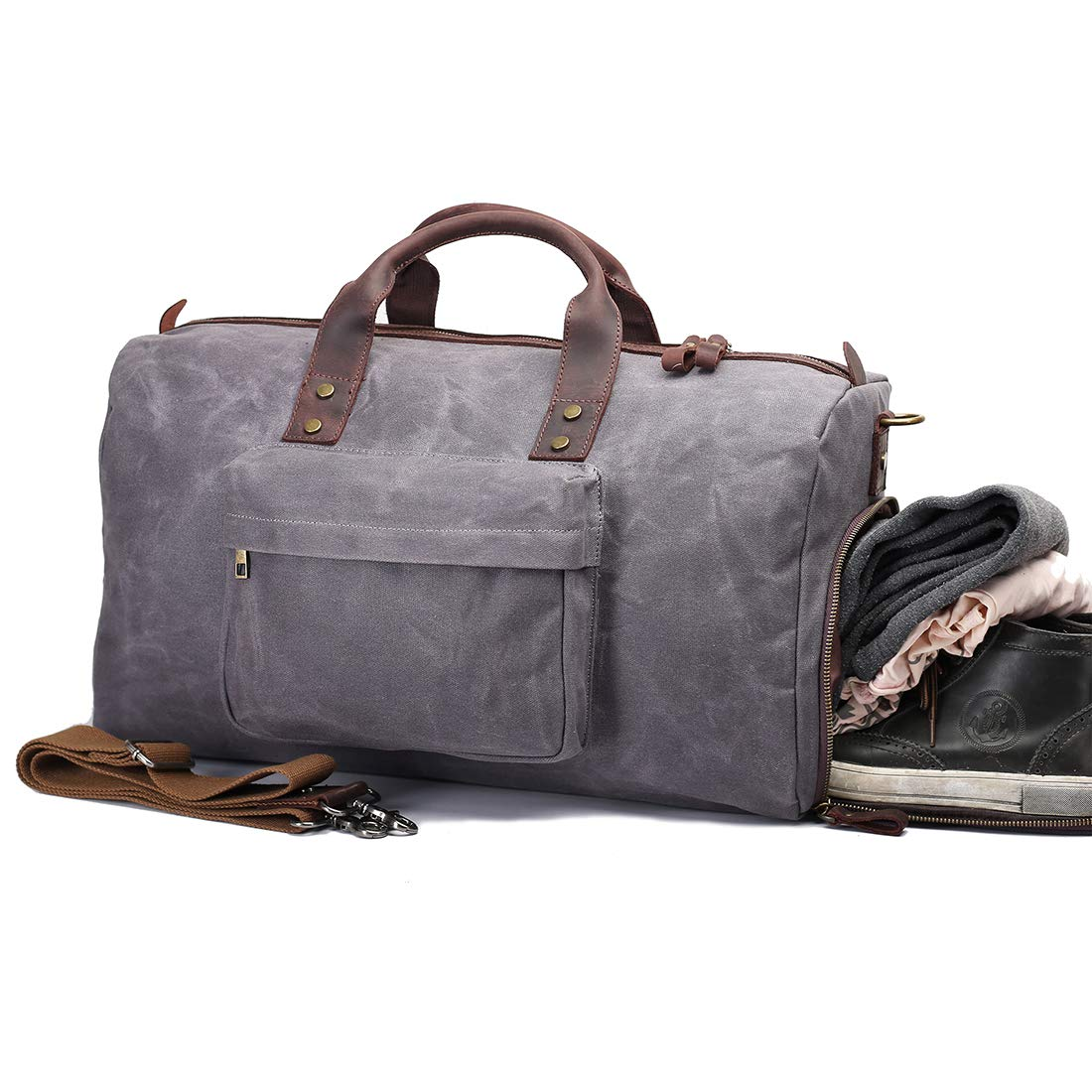 UNISACK Waterproof Waxed Canvas Leather Trim Travel Tote Duffel Handbag Weekend Bag Carry On with Shoe Pocket (Grey)