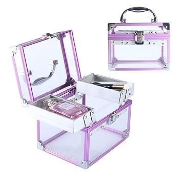 6dfcb1d42 Amazon.com : Kanaite Makeup Train Case, Mini Acrylic Cosmetic Box with  Trays Portable Organizer Bag FL-111 (Purple) : Beauty