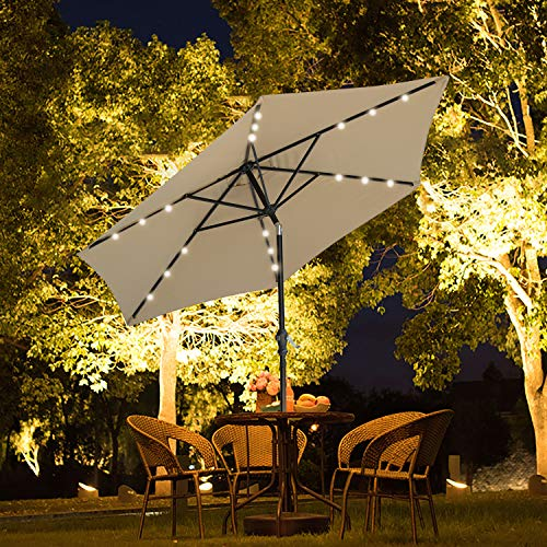 SUNNYARD Outdoor Solar Powered LED Lighted Patio Umbrella Aluminum Table Market Umbrella with Crank and Tilt Taupe