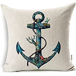 YouYee Square Decorative Cotton Linen Throw Pillow Case Cushion Cover, Nautical Anchor Sailing Map,18 X 18-Inch for Bedding Sofa Chair Car Seat