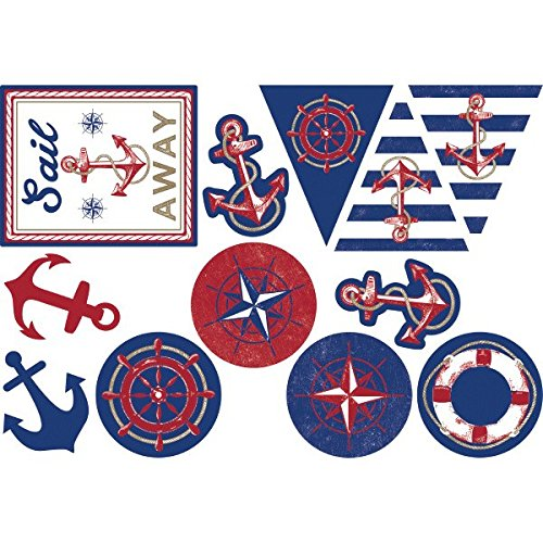 Amscan Anchor's Aweigh Nautical Party Assorted Cutouts,