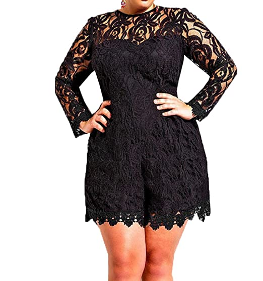 8002b70b78 Capray Women Sexy Long Sleeve Lace Plus Size Playsuit Jumpsuit Shorts Party  Evening (Black)