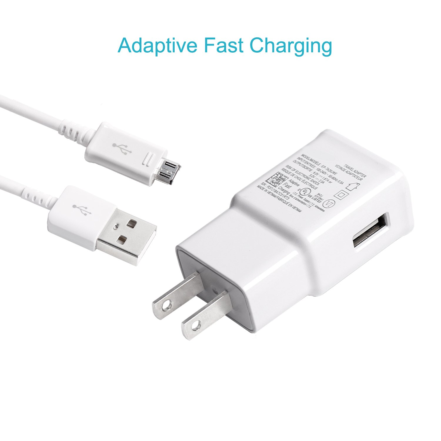 MBLAI Fast Charge Adaptive Fast Charger Kit for Samsung Galaxy S7/S7 Edge/S6/Note5/4 /S3,MBLAI USB 2.0 Fast Charging Kit True Digital Adaptive Fast Charging (Wall Charger + Micro USB Cable) by MBLAI (Image #3)